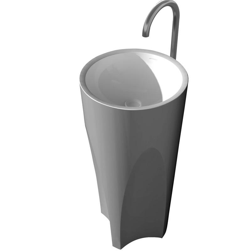 Corian Bathroom Pedestal Wash Basin Freestanding Solid Surface Matt Sink Cloakroom Vanity Wash Sink RS38314