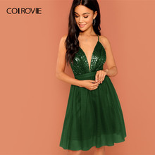 COLROVIE Green Solid Zipper Mesh Halter Sequin Party Dress Women 2019 Sleeveless High Waist Mini Dress Club Ladies Sexy Dresses(China)