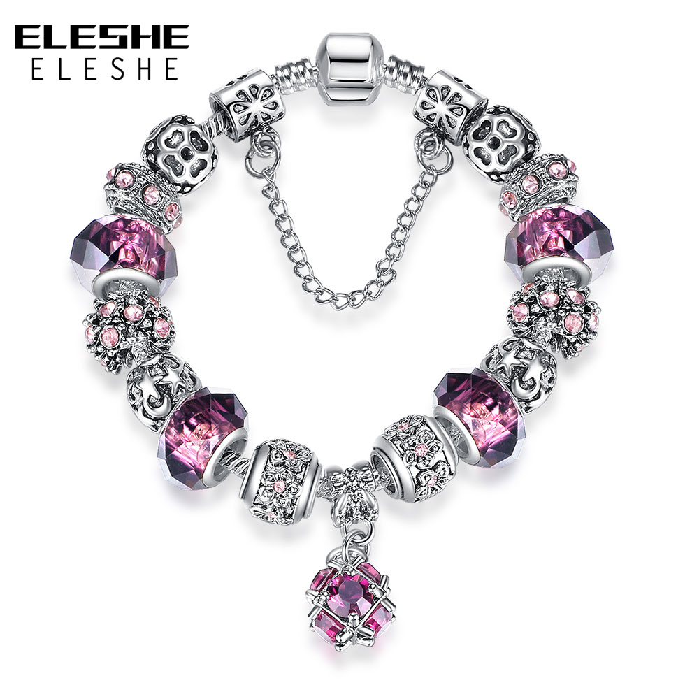 ELESHE European Style Vintage Silver Crystal Charm Bracelet for Women Original DIY Brand Bracelet Fashion Jewelry Gift