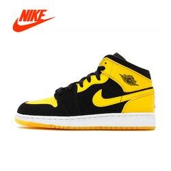 Original New Arrival Authentic Nike Air Jordan 1 Mid AJ1 Black Yellow Joe Men's Basketball Shoes Sneakers Outdoor Non-slip Shoes