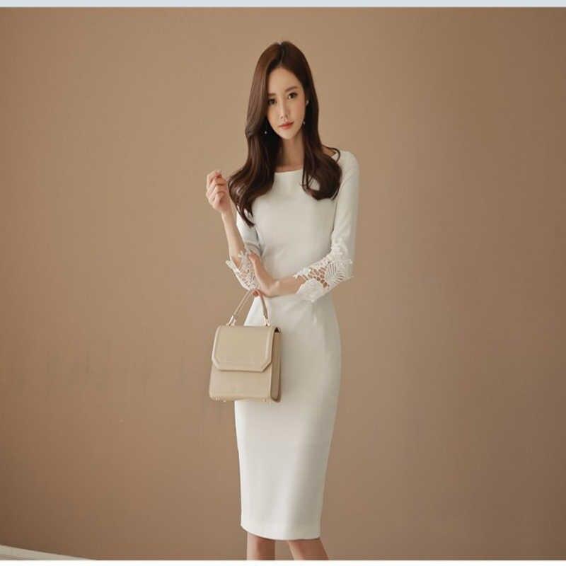 Ladies New Elegant dress Women patchwork slim hip placketing one-piece Dress 2321a75fde4d