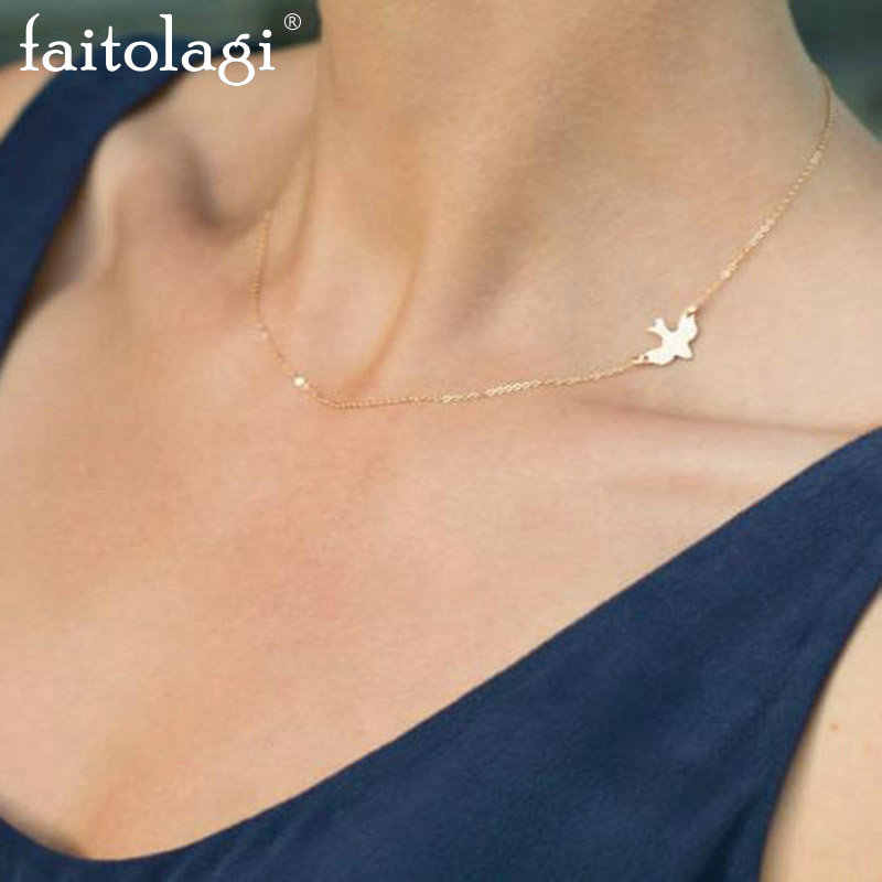 Fashion Simple Peace Dove Choker Necklace Collares Gold Silver Color Charm Chain Short Necklace for Women Jewelry Gift