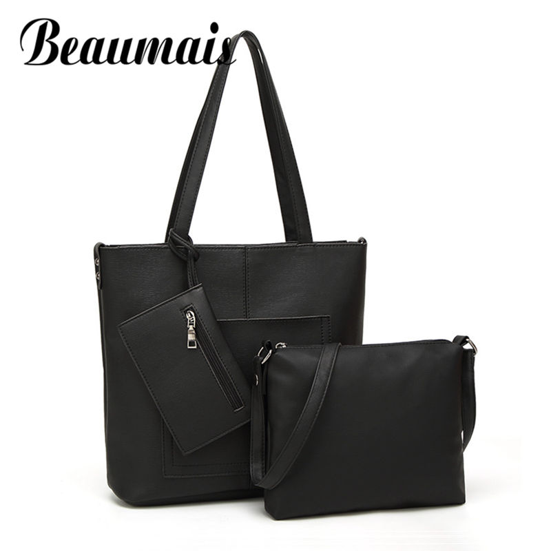 Beaumais 2017 Fashion Women Bag Set 3 Pieces Vintage PU Leather Women Shoulder Bag High Quality Handbag Messenger Bag DF0200