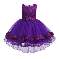 Girls Trumpet Dress Princess Dresses For Girl Kids purple Flower Wedding Party Dress Little Girl School Clothes 3 4 5 6 8 Years