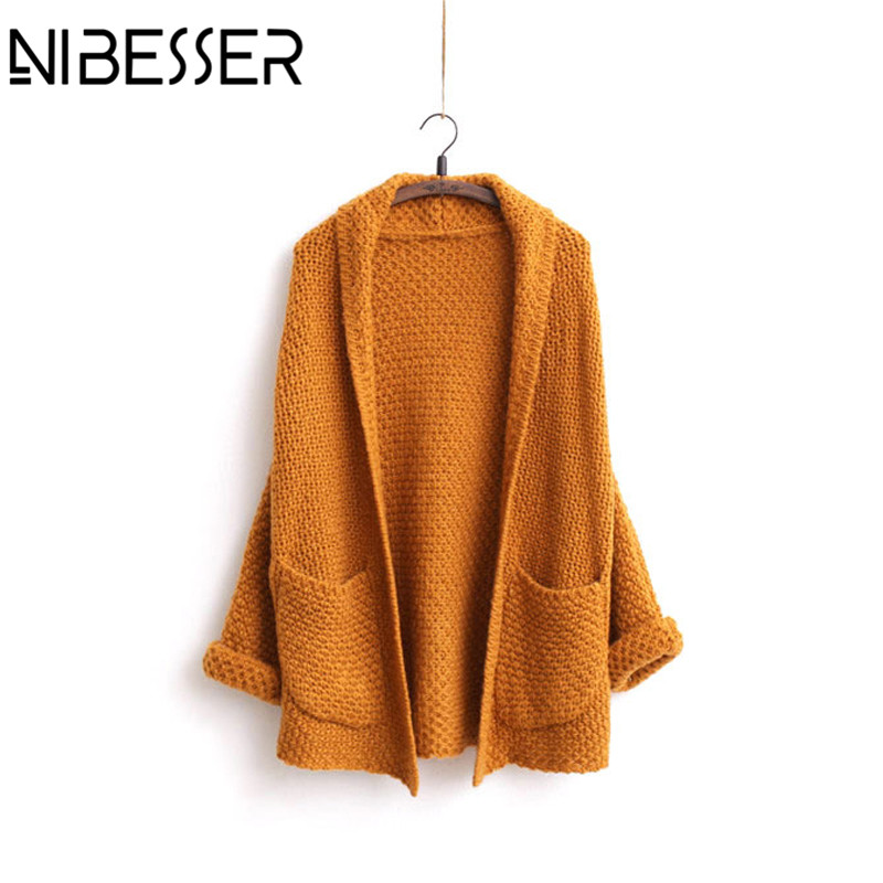 NIBESSER New Cardigans Coats Women Autumn Long Sleeve Knit Sweater Overcoats Female Casual Knitwear Windbreakers With Pocket