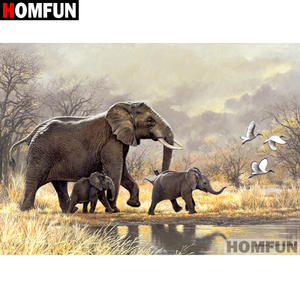 HOMFUN Full SquareRound Drill 5D DIY Diamond Painting Animal elephant Embroidery Cross Stitch 5D Home Decor Gift A07281