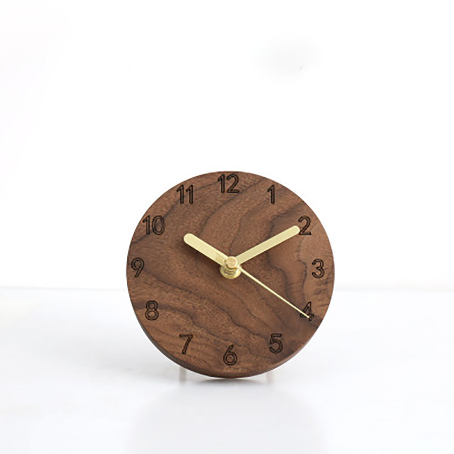 Electronic Desk Wall Clock Japanese Style Simple Clock Creative Design Mute Decorative Office Pendulum Clock Solid Wood Clock