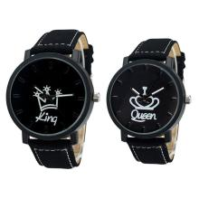Newest Couple Queen King Crown Fuax Leather Quartz Analog Wrist Watch