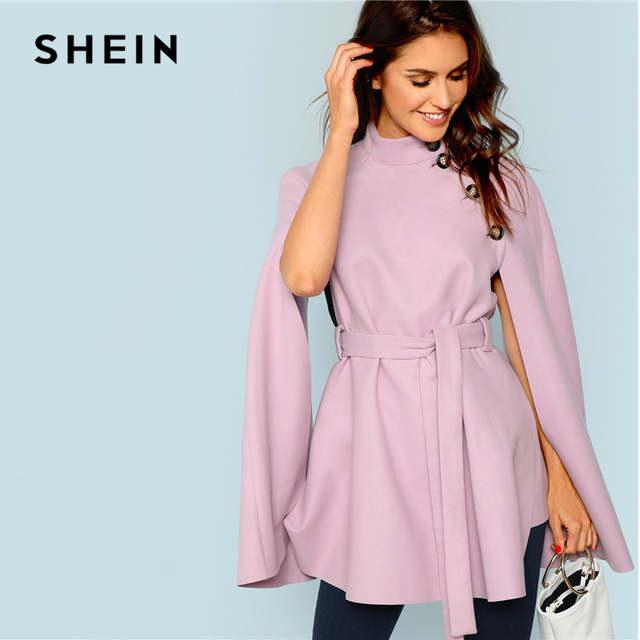 3ea0eb0f9a placeholder SHEIN Vintage Workwear Office Lady 2018 Women Outwear  Streetwear Purple Button Front Self Belted Knot Cloak