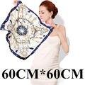 60 cm * 60 cm de luxo Elegante padrão de chave de metal cadeia de borla senhoras pequenos lenços quadrados 60 cm H grande primavera e verão os ventos