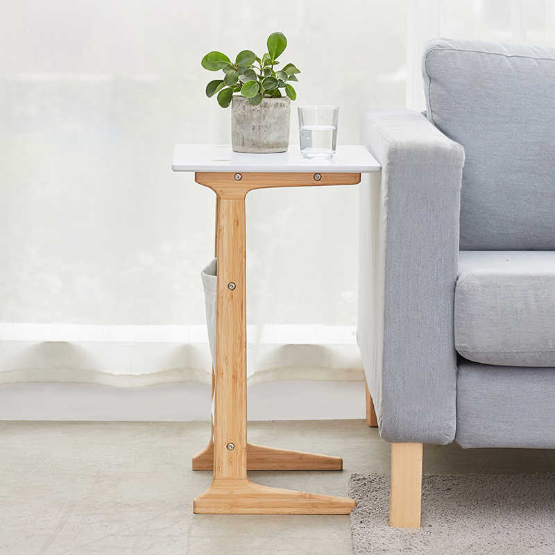 ZEN'S BAMBOO Sofa End Table White Coffee Table  for Living Room Night Table for Bedroom  Accent Furniture