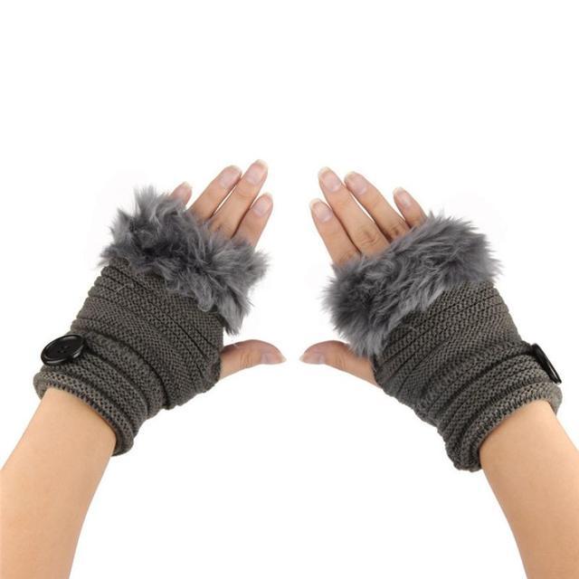 2018 fashion luxury brand winter gloves Women Girl Warm Winter Faux Rabbit Fur Wrist Fingerless Gloves Mittens fingerless glove