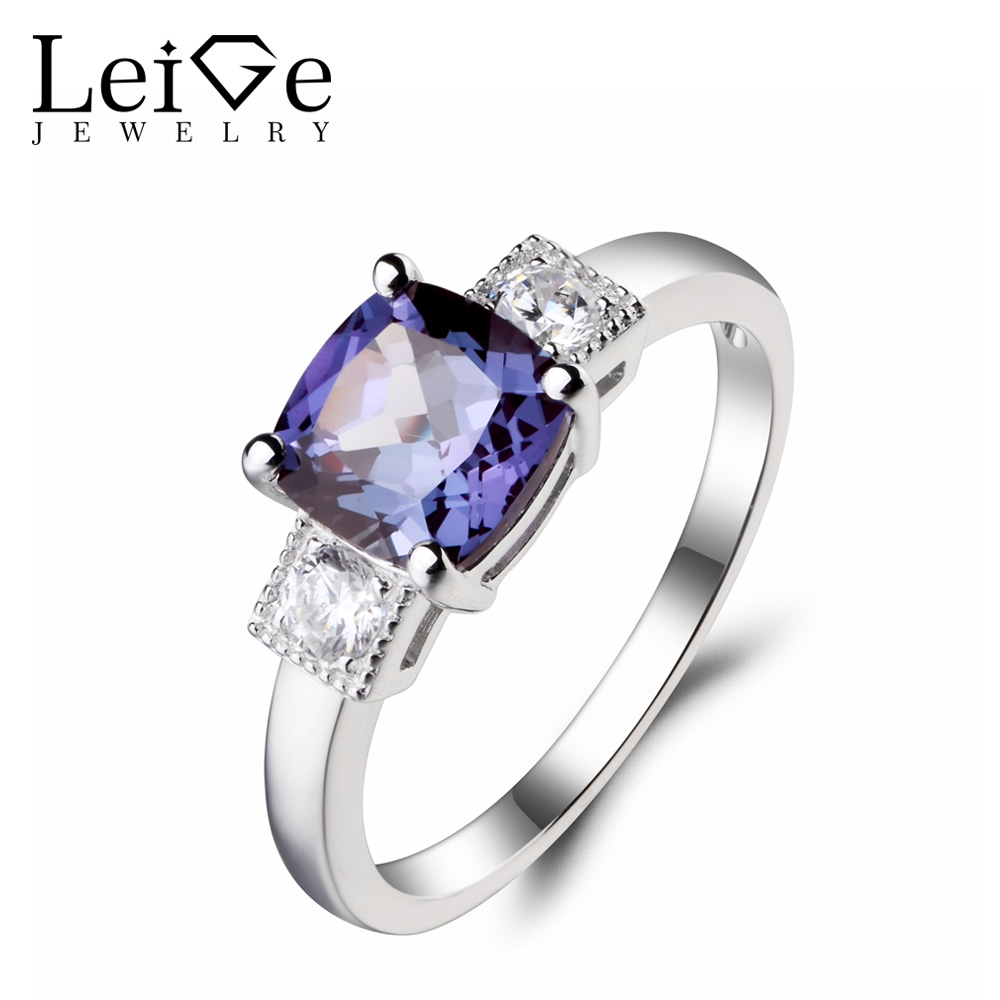 Leige Jewelry Engagement Ring Lab Alexandrite Ring June