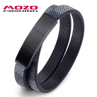 MOZO FASHION Jewelry Men Leather Cuff Buckle Double Layer Bracelets Bangles Classic Bracelet For Woman Stainless
