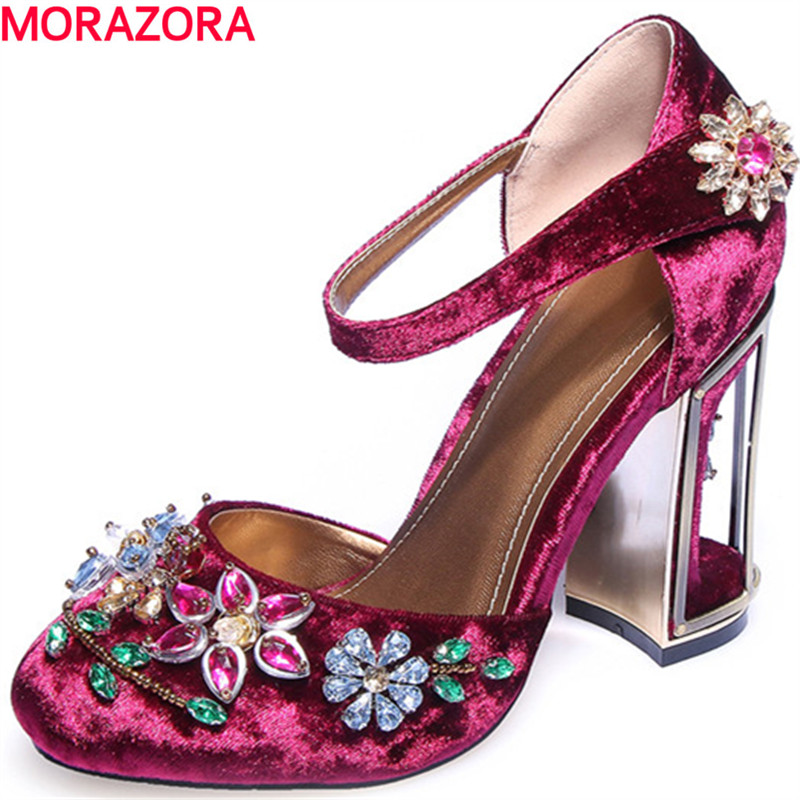 MORAZORA new summer fashion rhinestone fiower shoes square high heels buckle solid party shoes big size 34-41 women sandals morazora bind pu solid high heels shoes 5cm in summer fashion elegant party shoes sandals party large size 34 42