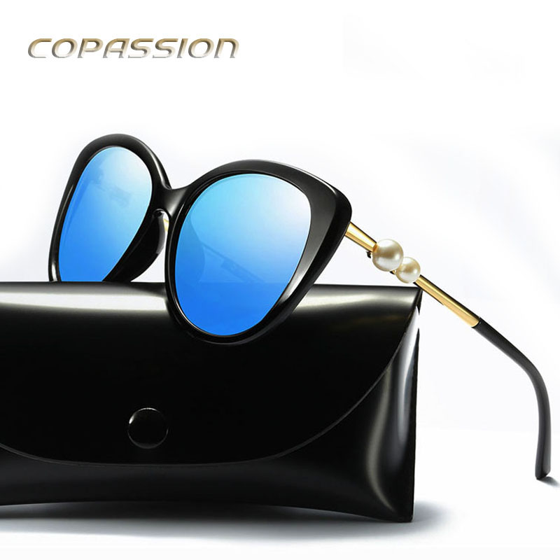 2017 New Arrival Fashion pearl cat eye sunglasses women polarized fishing glasses Vintage Sun glasses driver uv400 oculos de sol