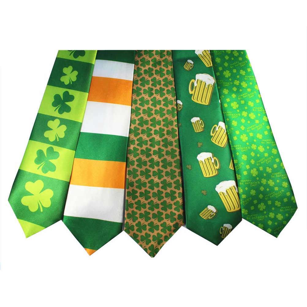 アイルランドホリデーテーマ高品質ポリエステルシルクネクタイ聖パトリックのデジタル印刷ポリエステル一般的な装飾ネクタイ