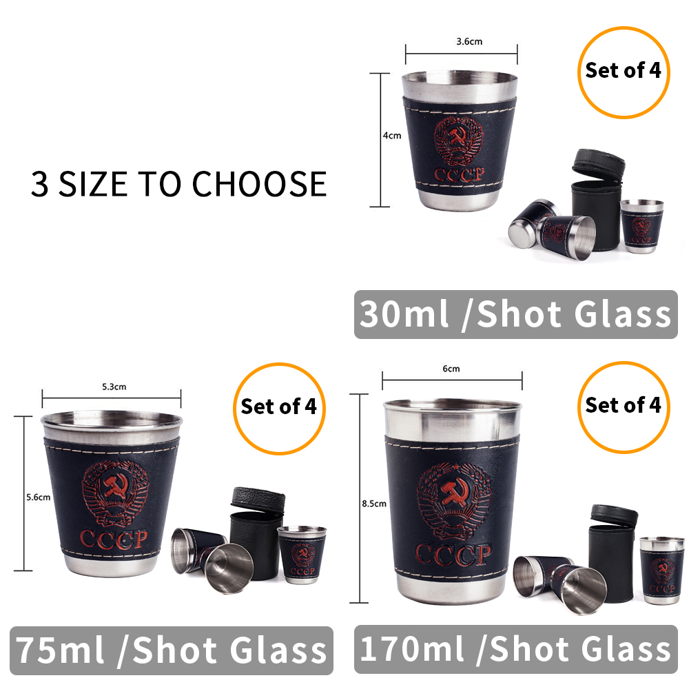 Free Bag Cccp 4pcs Cups Set Outdoor Folding Stainless Steel Travel Collapsible Cup Portable 304 Wine Beer Whiskey