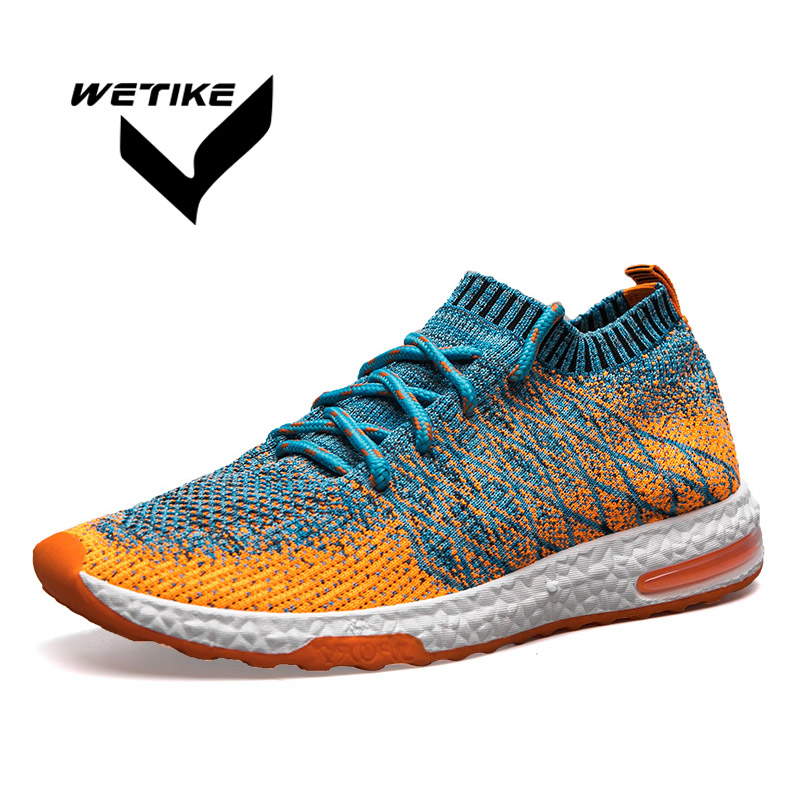 Men Flyknites Running Shoes Summer Breathable Soft Sport Shoes Mesh Lightweight Sports Jogging Walking Comfortable Male Sneakers