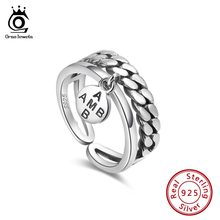 ORSA JEWELS 100% Real 925 Female Adjustable Rings Sterling Silver Women Letter Ring Fashion For Trendy Party Gift Jewelry SR133(China)