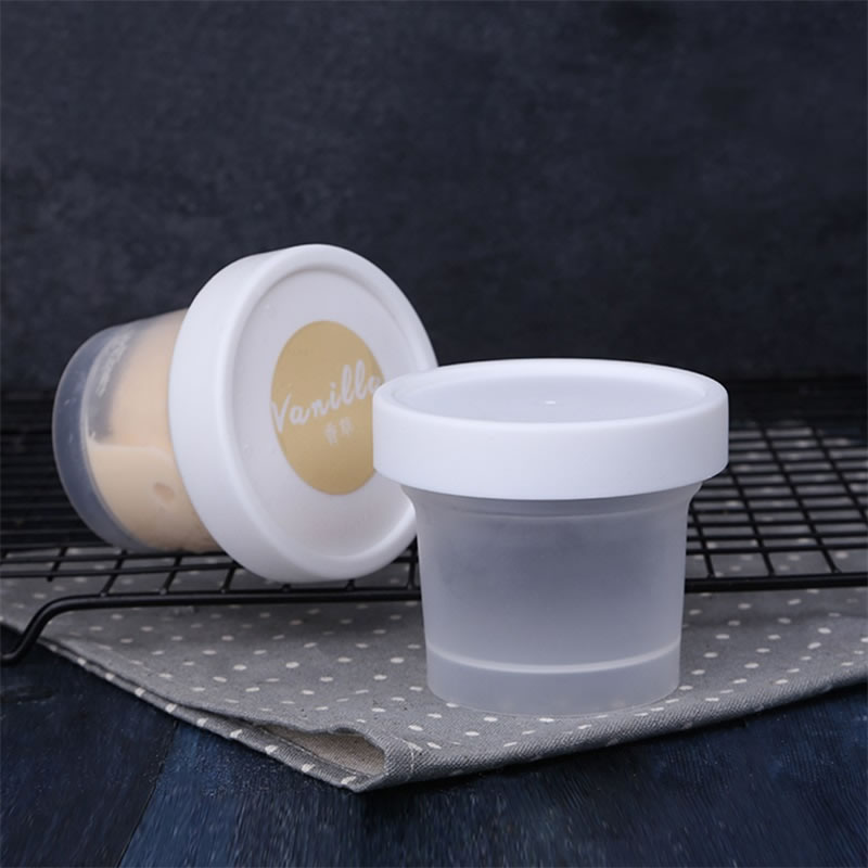 4Pcs 100mL Plastic Ice Cream Cup with Lid DIY Cake Dessert Smoothies Cups Containers Bowls Party Baking Supplies Ice Cream Tools lid