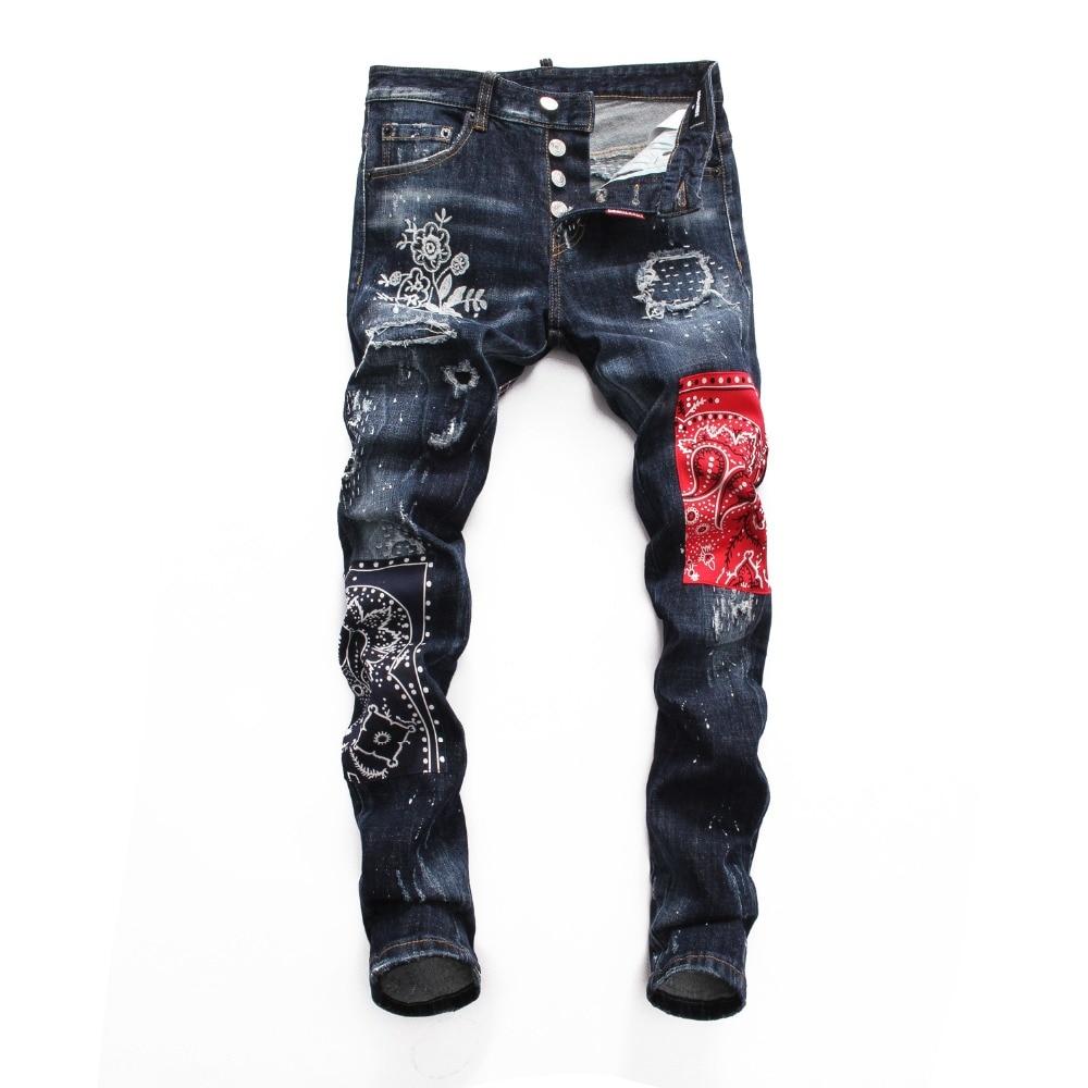 European Nightclub style famous brand   jeans   luxury Men straight denim trousers Patchwork Slim blue   jeans   Pencil Pants for men