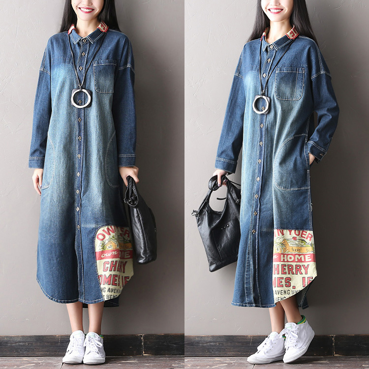 2017 female new arrival autumn letter patchwork denim   trench   long thin paragraph cardigan