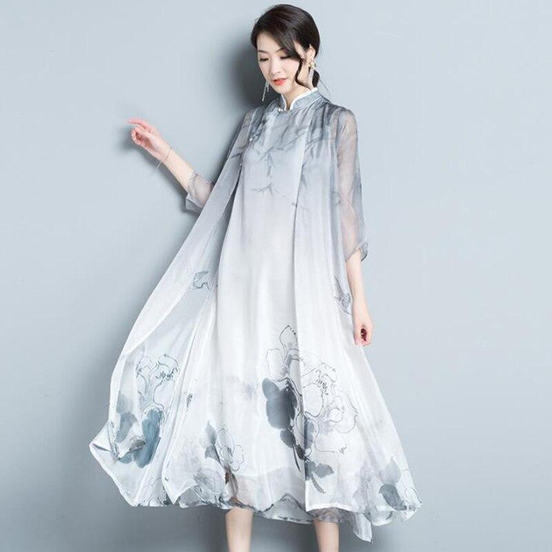 65cb0ab6df1 Для женщин летние шифоновое платье 2019 национальный ветер стенд воротник  винтажные чернила две детали с принтом