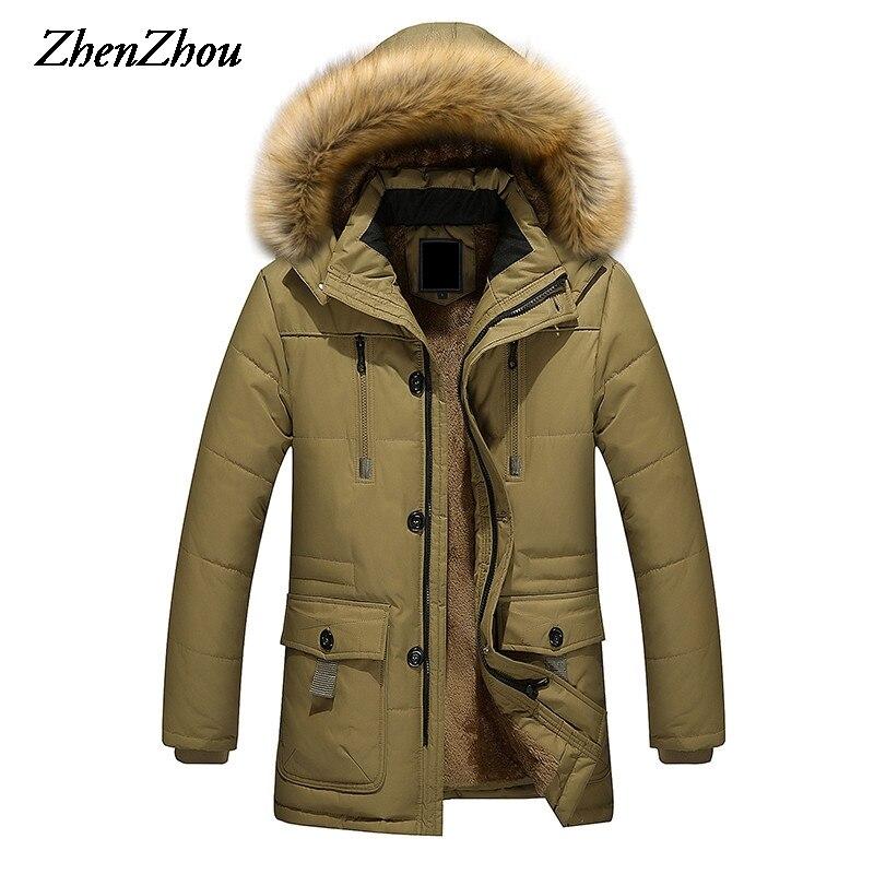 2017 длинные Для мужчин Мужские парки с капюшоном теплые хлопковые Для мужчин S Зимняя куртка плюс Размеры M-5XL брендовая одежда человек пальто...