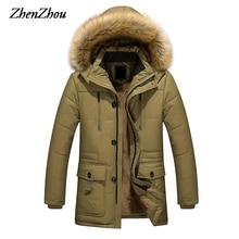 2017 Long Men Parkas Hooded Cotton Thick Warm Mens Winter Jacket Plus Size M-5XL Brand Clothing Man Coat Fur Collar Overcoats