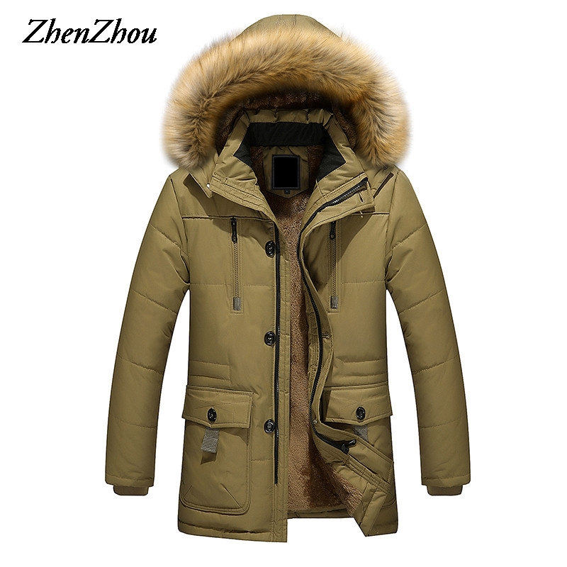 2017 Long Men   Parkas   Hooded Cotton Thick Warm Mens Winter Jacket Plus Size M-5XL Brand Clothing Man Coat Fur Collar Overcoats