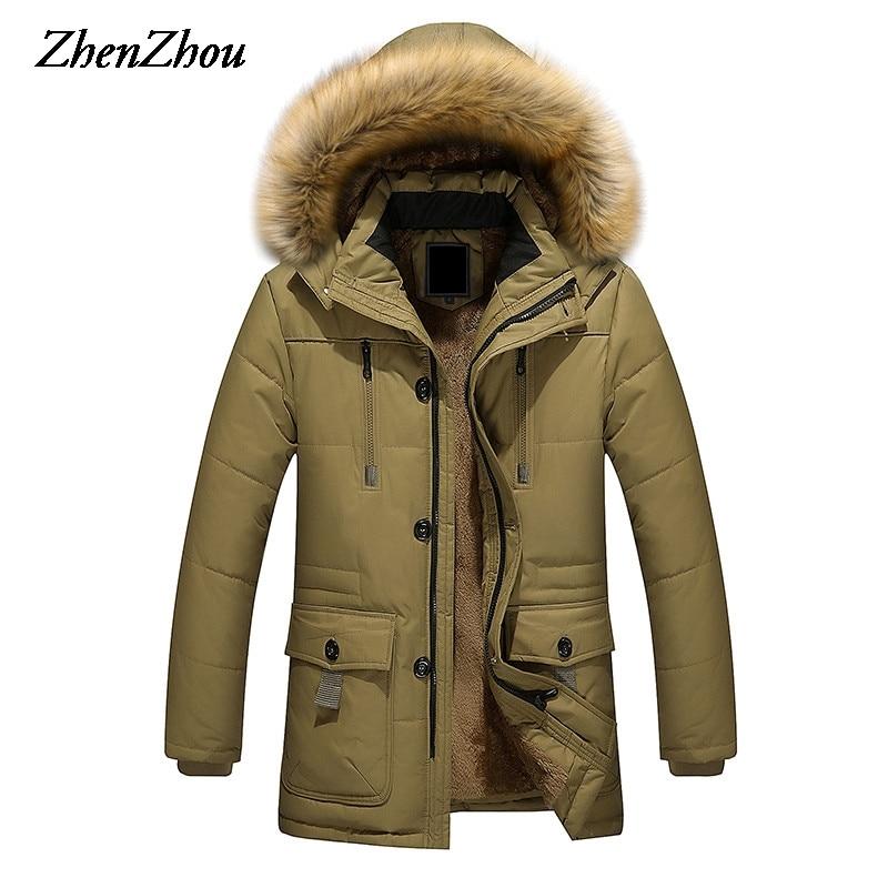 2017 Long hommes Parkas à capuche coton épais chaud hommes veste d'hiver grande taille M-5XL marque vêtements homme manteau fourrure col pardessus