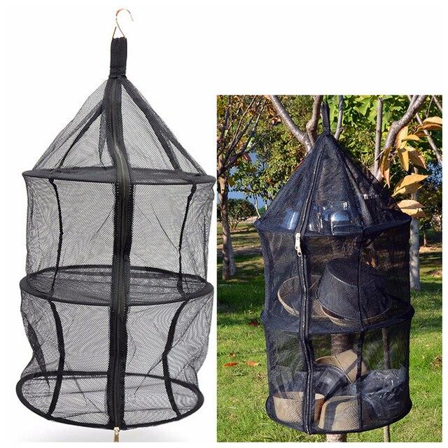 Camping Tableware Dry Net Portable Folding 3 Layer Hanging Mesh Foods Dish Outdoor Beach Picnic Bag Rack Shelf Storage Basket