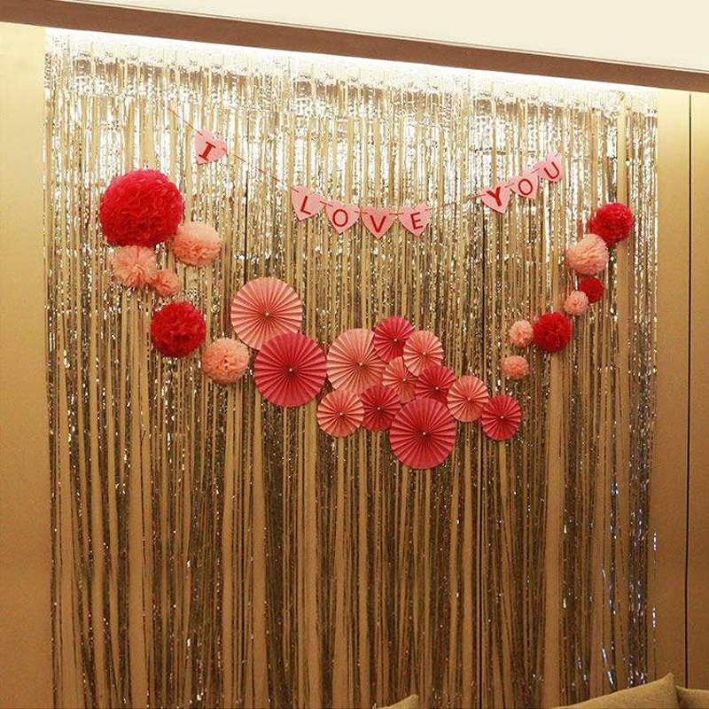 buy multicolor balloons rain curtain party decoration tassel photo background halloween wedding christmas wall supplies from reliable