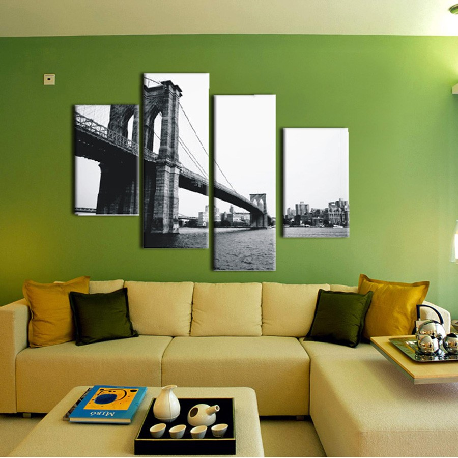 4 piece canvas prints Christmas gift Abstract Grey canvas wall art ...