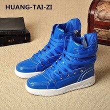 HUANG-TAI-ZI Men's Vulcanize Shoes Lace-up Men Casual Shoes Fashion High Top Men High Pipe Retro Comfortable Men's Flat Shoes