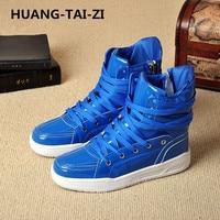 HUANG TAI ZI Men's Vulcanize Shoes Lace up Men Casual Shoes Fashion High Top Men High Pipe Retro Comfortable Men's Flat Shoes