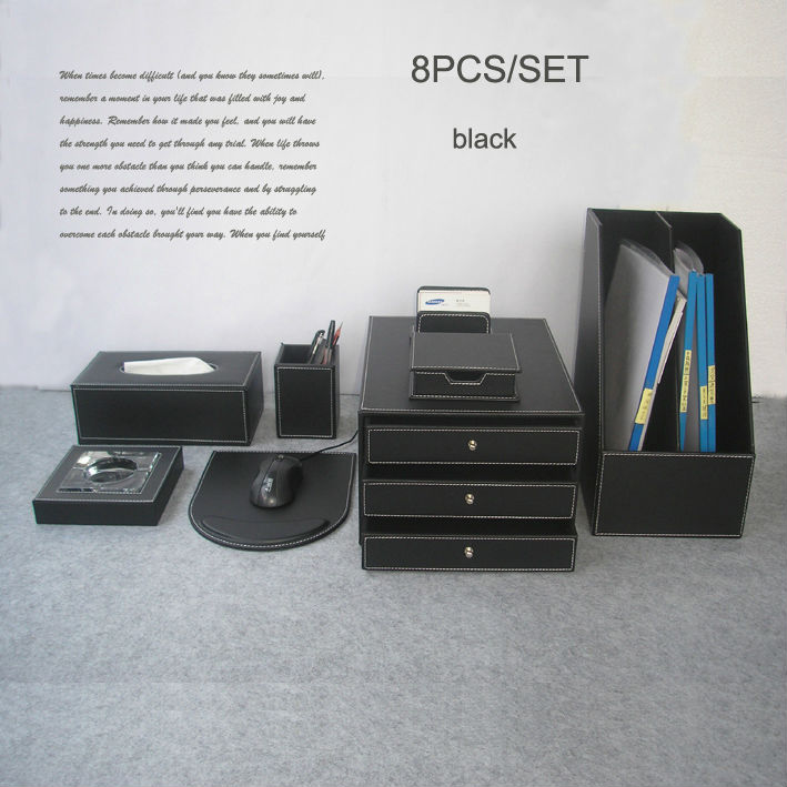 High Quality 8PCS /set Wood Leather Office Home Desk File Stationery Accessories U0026  Organizer Pen Holder Storage