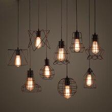 Retro jaula de hierro lámparas colgantes lámparas escandinavas Metal negro E27 interior Loft colgante vintage lámparas