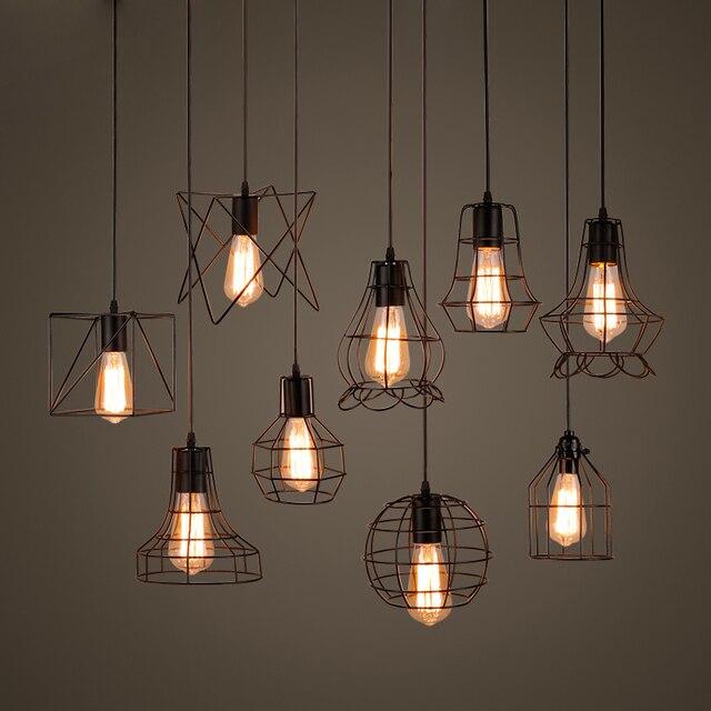 Retro Iron Cage Pendant Lights Fixtures Scandinavian Metal Black E27 Indoor Loft Vintage Hanging Lamps
