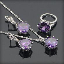 Ronda Amethyst púrpura plata de la joyería para mujeres pendientes / colgante / del collar / del anillo del tamaño #6 #7 #8 #9 ventas mayoristas caja de regalo libre