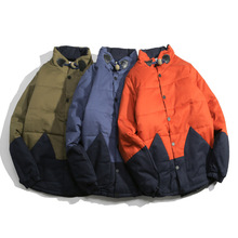 Winter 2016 New Retro Chinese Wind Pu Di Pearl Collar Stitching Color Padded Jacket On Behalf Of A