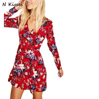 Nkisses 2018 Spring Women V Neck Red Floral Printed Boho People Dress Cross Long Sleeve Sweet