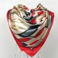 Красный шёлковый шарф 2015 женский шарф, китайский стиль атласный большой квадратный шарф с принтом, Женский брендовый шелковый шарф из искусственного шелка, модная шаль 90*90 см - фото