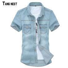 TANGNEST 2017 Hot Sale Men's Solid Short-sleeved Shirt Male Casual Comfortable Korean Style Turn-down Collar Denim Shirts MCS102