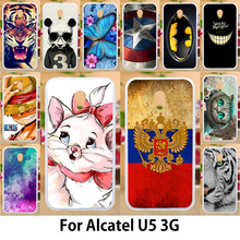 Anunob For Alcatel U5 3G Case 4047D 4047 4047Y Silicone Cases Cover Phone Bumper Painted Cat Flower Animals