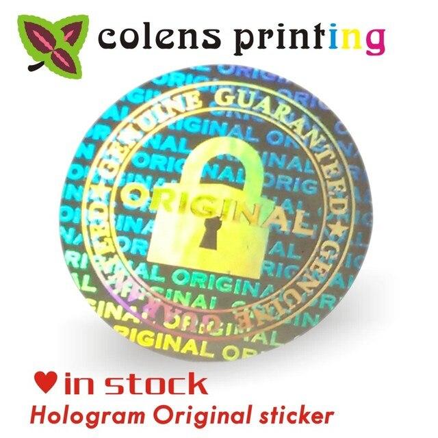 Custom hologram stickers/GARANTIE VERVALT INDIEN VERWIJDERD security Originele Zilveren laser Holografische label afdrukken 2*2 CM 2000 Stks/zak