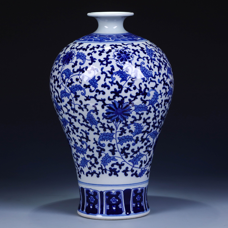 Jingdezhen Ceramics Antique Vase Flower Blue And White