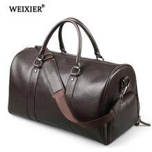 WEIXIER PU New Mens Handsome Fitness Long-Distance Travel Large-Capacity Handbags Shoes Clothing Storage Multi-Function Handbag