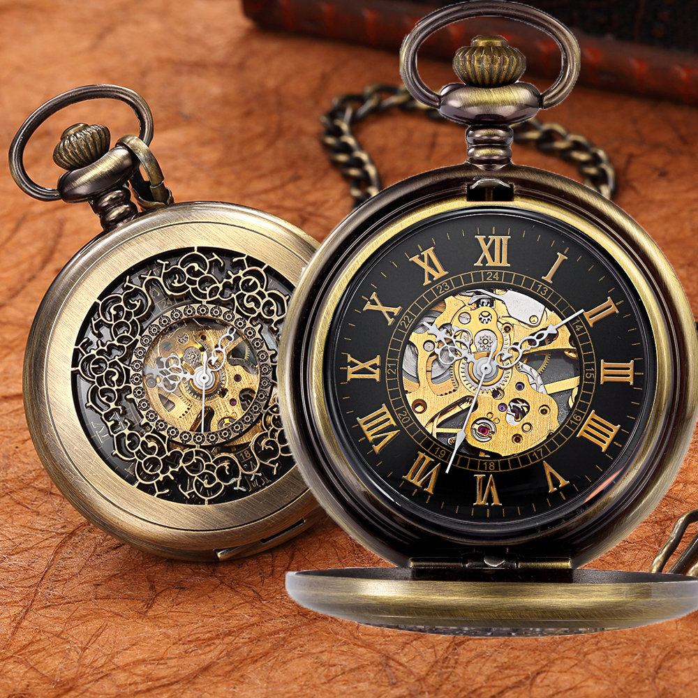 Hot Steampunk Mechanical Pocket Watch Men Vintage Bronze Retro Fob Watches Charm Pendant Necklace Pocket & Fob Watch With Chain